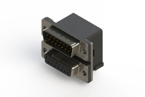 663-015-264-004 - Right-angle Dual Port D-Sub Connector