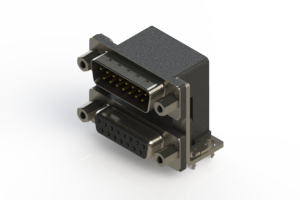 663-015-264-036 - Right-angle Dual Port D-Sub Connector