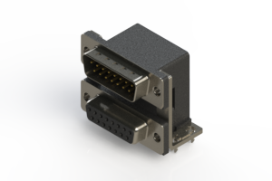 663-015-264-037 - Right-angle Dual Port D-Sub Connector