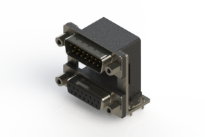 663-015-264-039 - Right-angle Dual Port D-Sub Connector