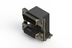 663-015-264-04A - Right-angle Dual Port D-Sub Connector