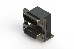 663-015-264-058 - Right-angle Dual Port D-Sub Connector