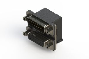 663-015-364-006 - Right-angle Dual Port D-Sub Connector
