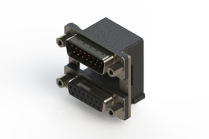 663-015-364-009 - Right-angle Dual Port D-Sub Connector