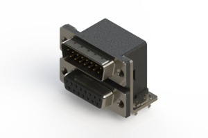 663-015-364-032 - Right-angle Dual Port D-Sub Connector