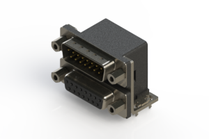 663-015-364-033 - Right-angle Dual Port D-Sub Connector