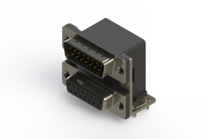 663-015-364-035 - Right-angle Dual Port D-Sub Connector