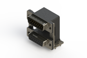663-015-364-038 - Right-angle Dual Port D-Sub Connector