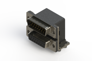 663-015-364-044 - Right-angle Dual Port D-Sub Connector