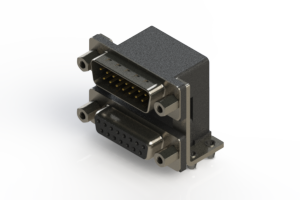 663-015-364-046 - Right-angle Dual Port D-Sub Connector