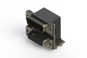 663-015-364-047 - Right-angle Dual Port D-Sub Connector