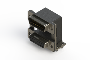 663-015-364-04A - Right-angle Dual Port D-Sub Connector