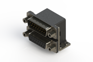 663-015-364-053 - Right-angle Dual Port D-Sub Connector