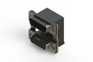 663-015-664-000 - Right-angle Dual Port D-Sub Connector