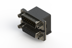 663-015-664-003 - Right-angle Dual Port D-Sub Connector