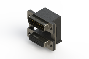 663-015-664-008 - Right-angle Dual Port D-Sub Connector