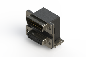 663-015-664-037 - Right-angle Dual Port D-Sub Connector