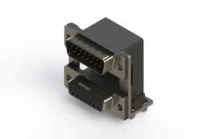 663-015-664-040 - Right-angle Dual Port D-Sub Connector