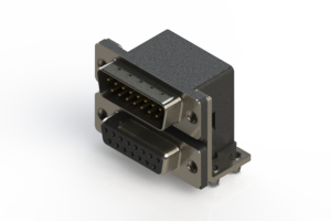 663-015-664-041 - Right-angle Dual Port D-Sub Connector