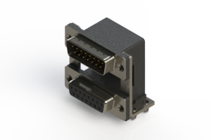 663-015-664-048 - Right-angle Dual Port D-Sub Connector