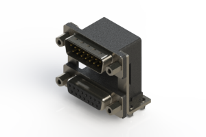 663-015-664-049 - Right-angle Dual Port D-Sub Connector