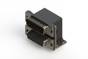 663-015-664-051 - Right-angle Dual Port D-Sub Connector
