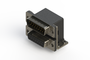 663-015-664-054 - Right-angle Dual Port D-Sub Connector
