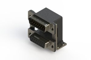 663-015-664-058 - Right-angle Dual Port D-Sub Connector