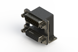 663-015-664-059 - Right-angle Dual Port D-Sub Connector