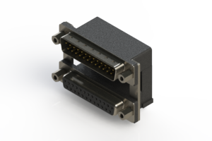 663-025-264-009 - Right-angle Dual Port D-Sub Connector