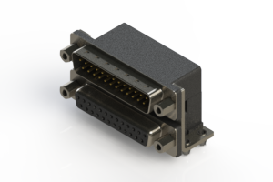 663-025-264-043 - Right-angle Dual Port D-Sub Connector