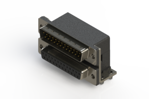 663-025-264-044 - Right-angle Dual Port D-Sub Connector