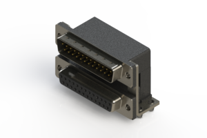 663-025-264-047 - Right-angle Dual Port D-Sub Connector