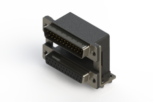 663-025-264-048 - Right-angle Dual Port D-Sub Connector