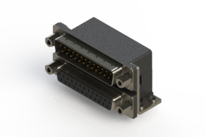 663-025-264-053 - Right-angle Dual Port D-Sub Connector