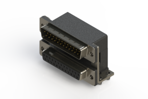 663-025-364-047 - Right-angle Dual Port D-Sub Connector