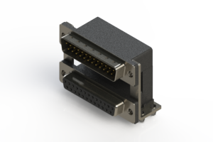 663-025-364-04A - Right-angle Dual Port D-Sub Connector