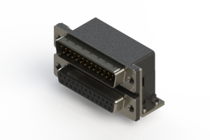 663-025-364-052 - Right-angle Dual Port D-Sub Connector