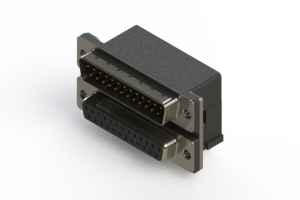 663-025-664-004 - Right-angle Dual Port D-Sub Connector