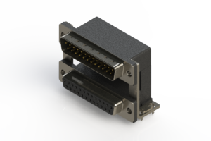 663-025-664-030 - Right-angle Dual Port D-Sub Connector