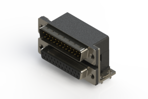 663-025-664-032 - Right-angle Dual Port D-Sub Connector