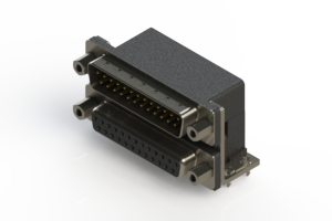 663-025-664-033 - Right-angle Dual Port D-Sub Connector