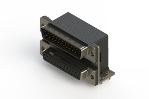 663-025-664-037 - Right-angle Dual Port D-Sub Connector