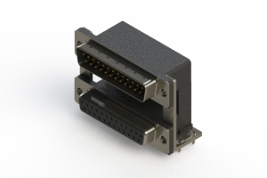 663-025-664-03A - Right-angle Dual Port D-Sub Connector