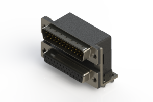 663-025-664-045 - Right-angle Dual Port D-Sub Connector