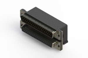 663-037-264-002 - Right-angle Dual Port D-Sub Connector