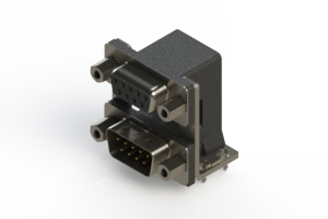 664-009-264-036 - Right-angle Dual Port D-Sub Connector