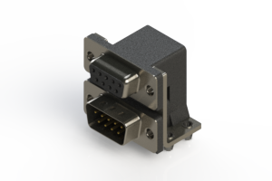 664-009-264-044 - Right-angle Dual Port D-Sub Connector