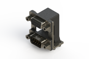 664-009-264-049 - Right-angle Dual Port D-Sub Connector