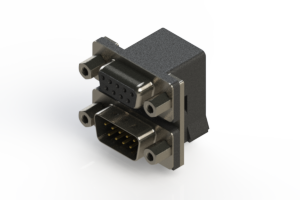 664-009-664-003 - Right-angle Dual Port D-Sub Connector